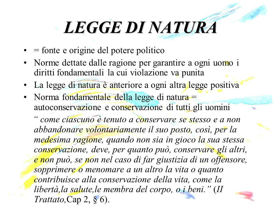 LEGGE DI NATURA = fonte e origine del potere politico Norme dettate dalle ragione per garantire a ogni uomo i diritti fondamentali la cui violazione v