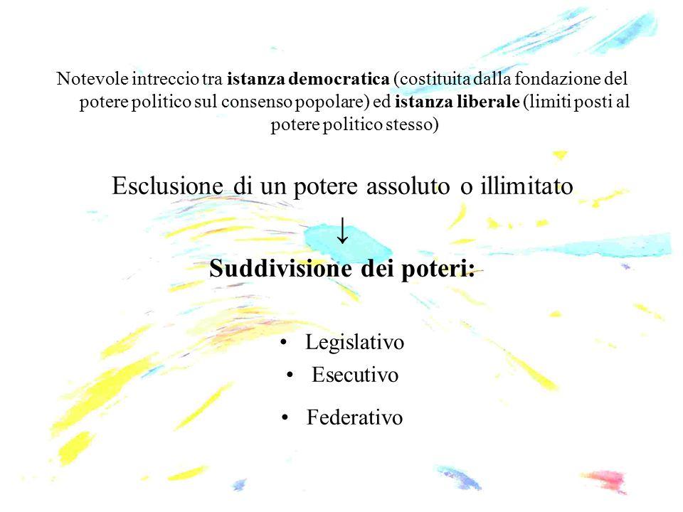 Notevole intreccio tra istanza democratica (costituita dalla fondazione del potere politico sul consenso popolare) ed istanza liberale (limiti posti a
