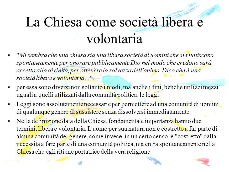 La Chiesa come società libera e volontaria