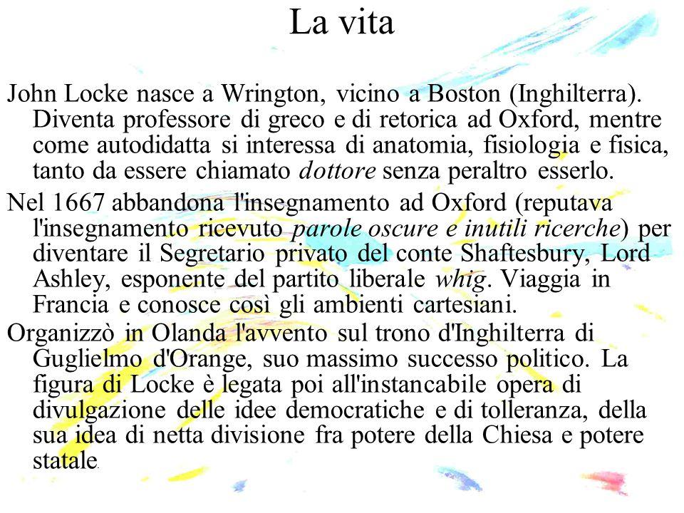 La vita John Locke nasce a Wrington, vicino a Boston (Inghilterra). Diventa professore di greco e di retorica ad Oxford, mentre come autodidatta si in