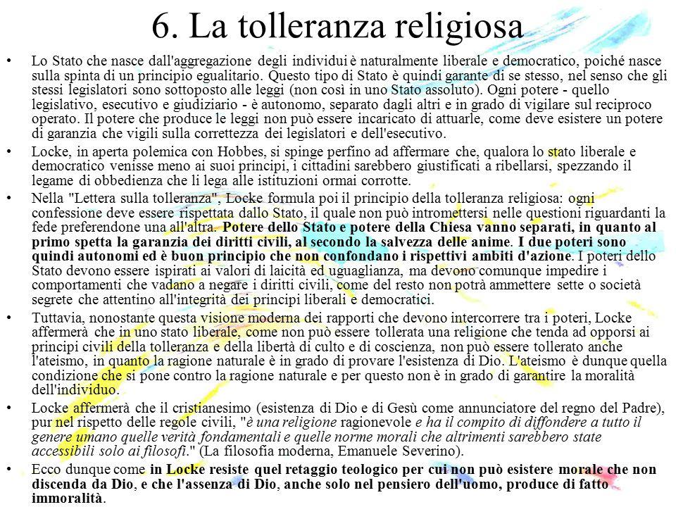 6. La tolleranza religiosa Lo Stato che nasce dall'aggregazione degli individui è naturalmente liberale e democratico, poiché nasce sulla spinta di un