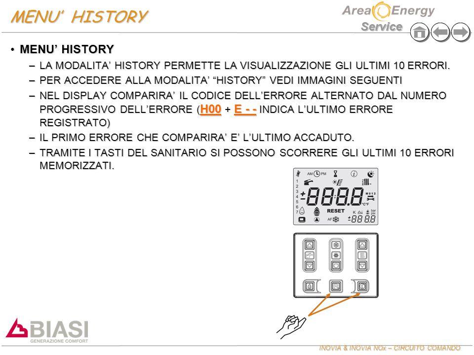 INOVIA & INOVIA NOx – CIRCUITO COMANDO Service MENU' HISTORY MENU' HISTORYMENU' HISTORY –LA MODALITA' HISTORY PERMETTE LA VISUALIZZAZIONE GLI ULTIMI 1