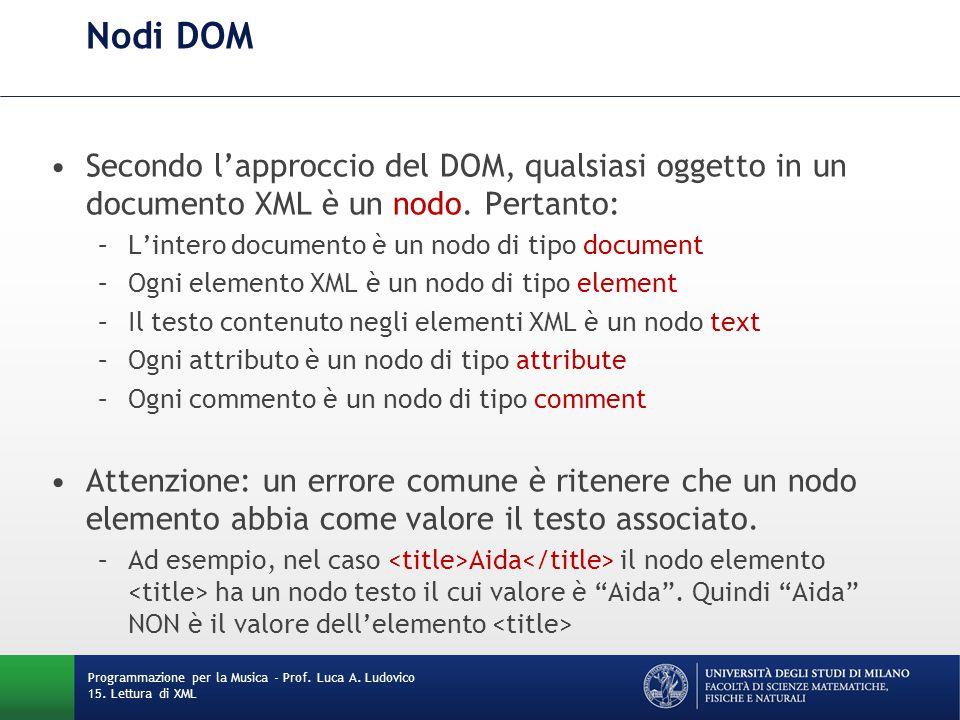 Nodi DOM Secondo l'approccio del DOM, qualsiasi oggetto in un documento XML è un nodo. Pertanto: –L'intero documento è un nodo di tipo document –Ogni