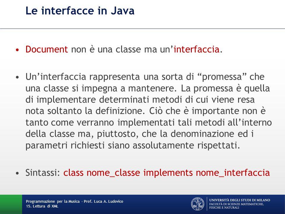 """Le interfacce in Java Document non è una classe ma un'interfaccia. Un'interfaccia rappresenta una sorta di """"promessa"""" che una classe si impegna a mant"""