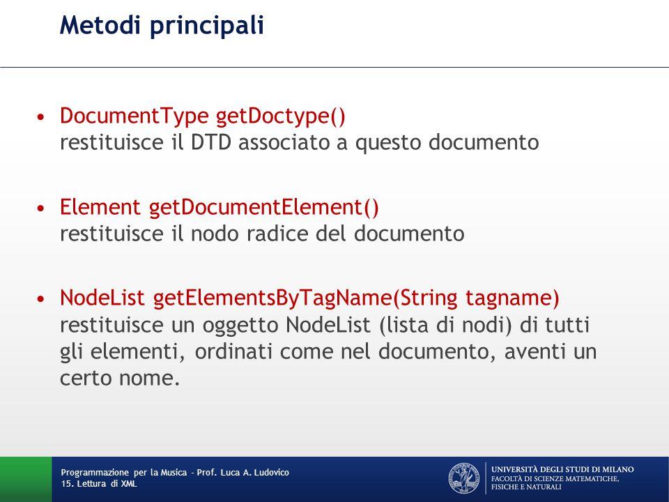 Metodi principali DocumentType getDoctype() restituisce il DTD associato a questo documento Element getDocumentElement() restituisce il nodo radice de