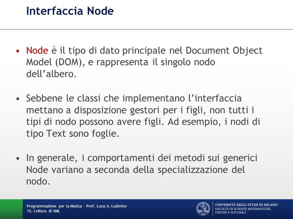 Interfaccia Node Node è il tipo di dato principale nel Document Object Model (DOM), e rappresenta il singolo nodo dell'albero. Sebbene le classi che i