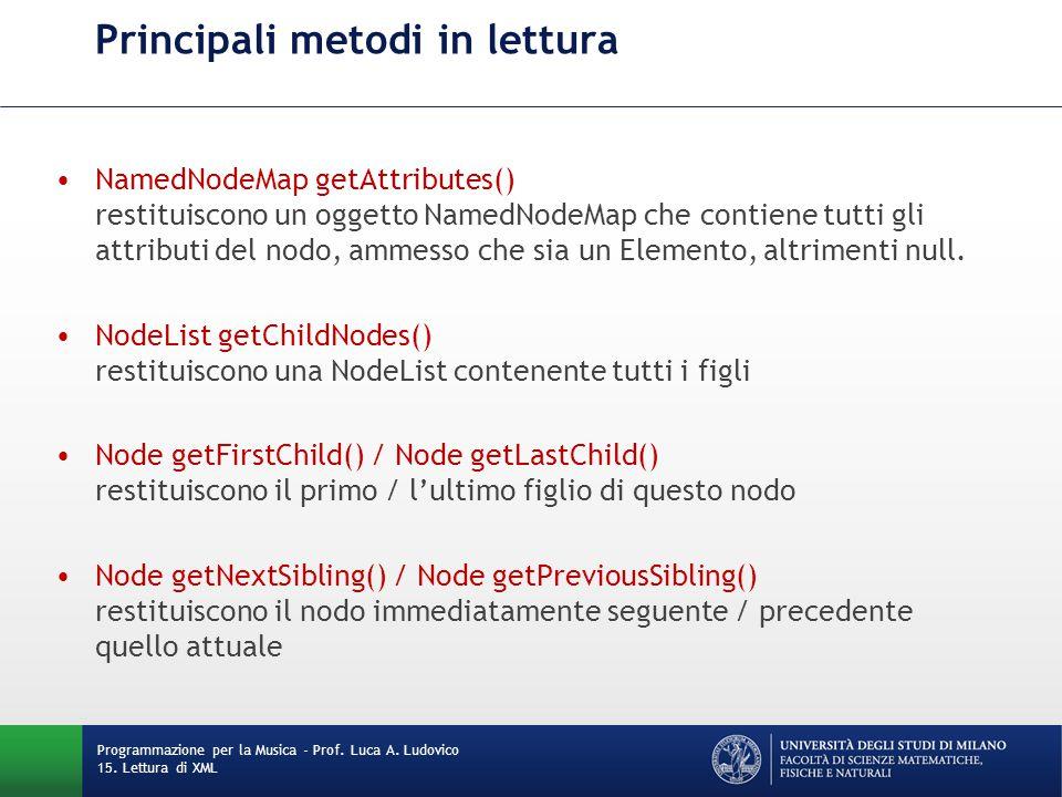 Principali metodi in lettura NamedNodeMap getAttributes() restituiscono un oggetto NamedNodeMap che contiene tutti gli attributi del nodo, ammesso che