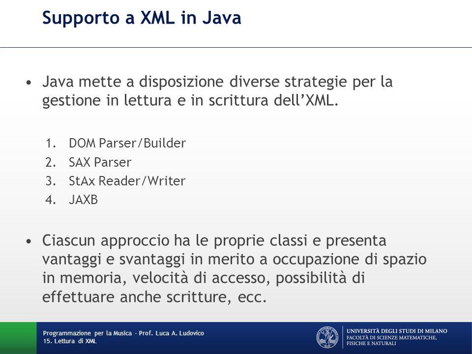 Supporto a XML in Java Java mette a disposizione diverse strategie per la gestione in lettura e in scrittura dell'XML. 1.DOM Parser/Builder 2.SAX Pars