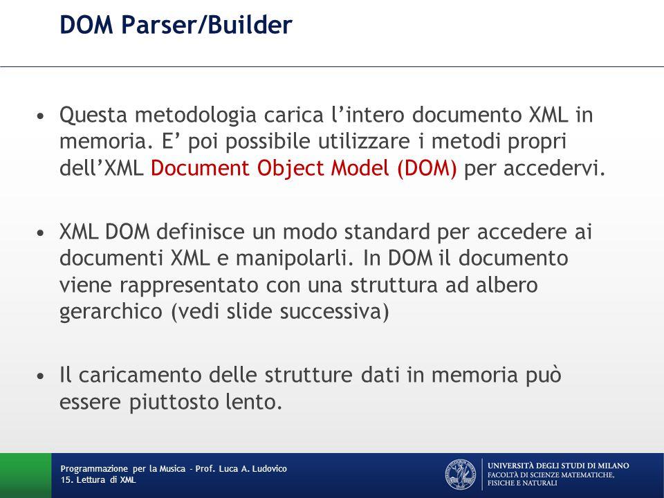 DOM Parser/Builder Questa metodologia carica l'intero documento XML in memoria. E' poi possibile utilizzare i metodi propri dell'XML Document Object M