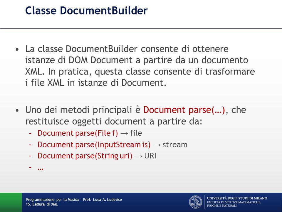 Caricamento di file con DOM DocumentBuilderFactory factory = DocumentBuilderFactory.newInstance(); factory.setValidating(true); // opzionale try { DocumentBuilder builder = factory.newDocumentBuilder(); File file = new File( test.xml ); Document doc = builder.parse(file); // Do something with the document here } catch (ParserConfigurationException | SAXException | IOException e) { // Manage exception (multi-catch) } Programmazione per la Musica - Prof.