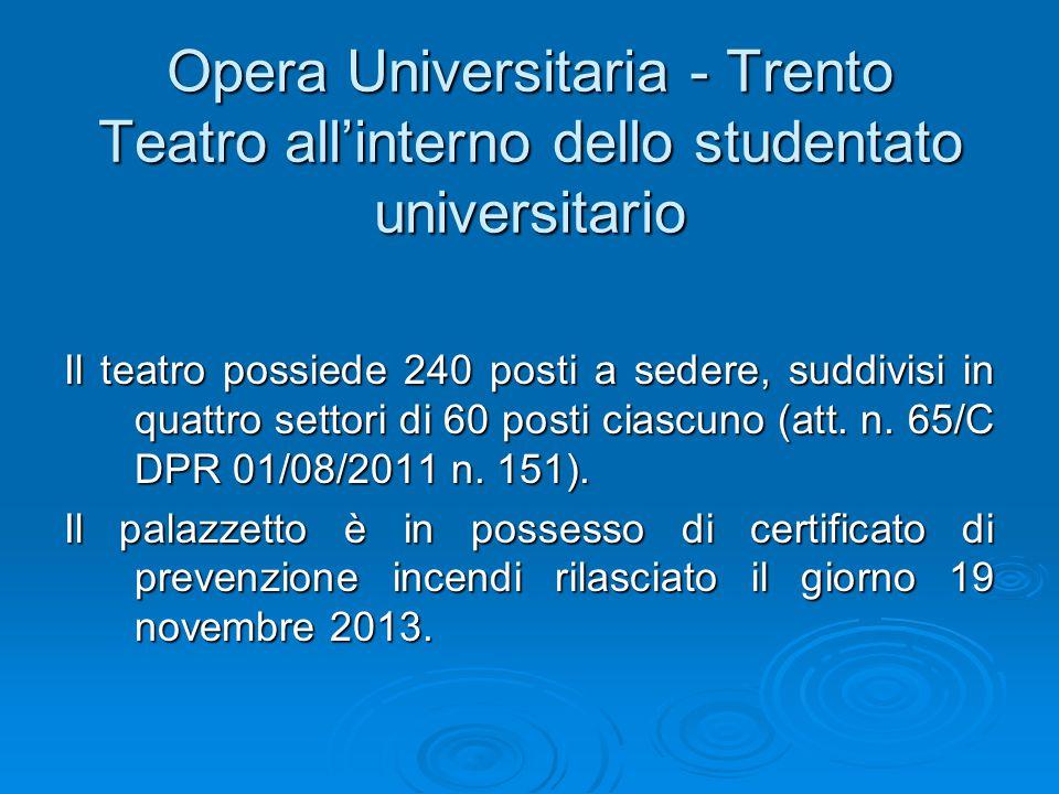 Opera Universitaria - Trento Teatro all'interno dello studentato universitario Il teatro possiede 240 posti a sedere, suddivisi in quattro settori di 60 posti ciascuno (att.