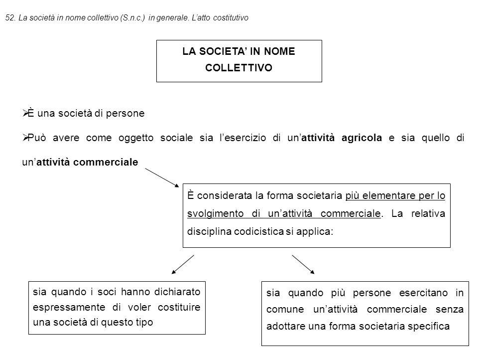 52.La società in nome collettivo (S.n.c.) in generale.