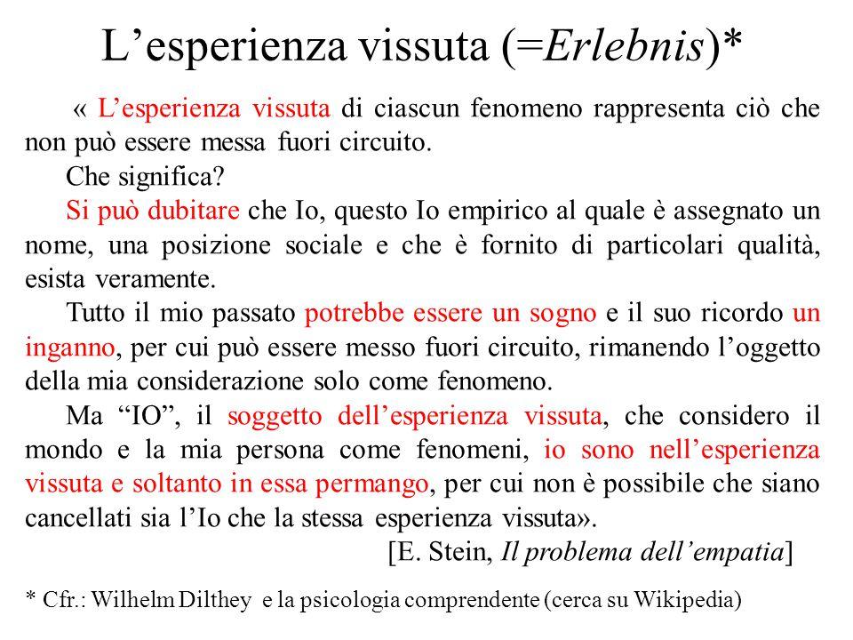 L'esperienza vissuta (=Erlebnis)* « L'esperienza vissuta di ciascun fenomeno rappresenta ciò che non può essere messa fuori circuito. Che significa? S