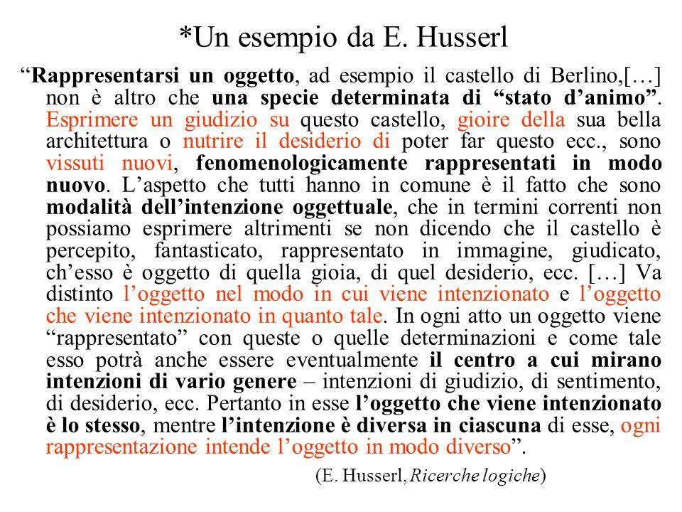 """*Un esempio da E. Husserl """"Rappresentarsi un oggetto, ad esempio il castello di Berlino,[…] non è altro che una specie determinata di """"stato d'animo""""."""