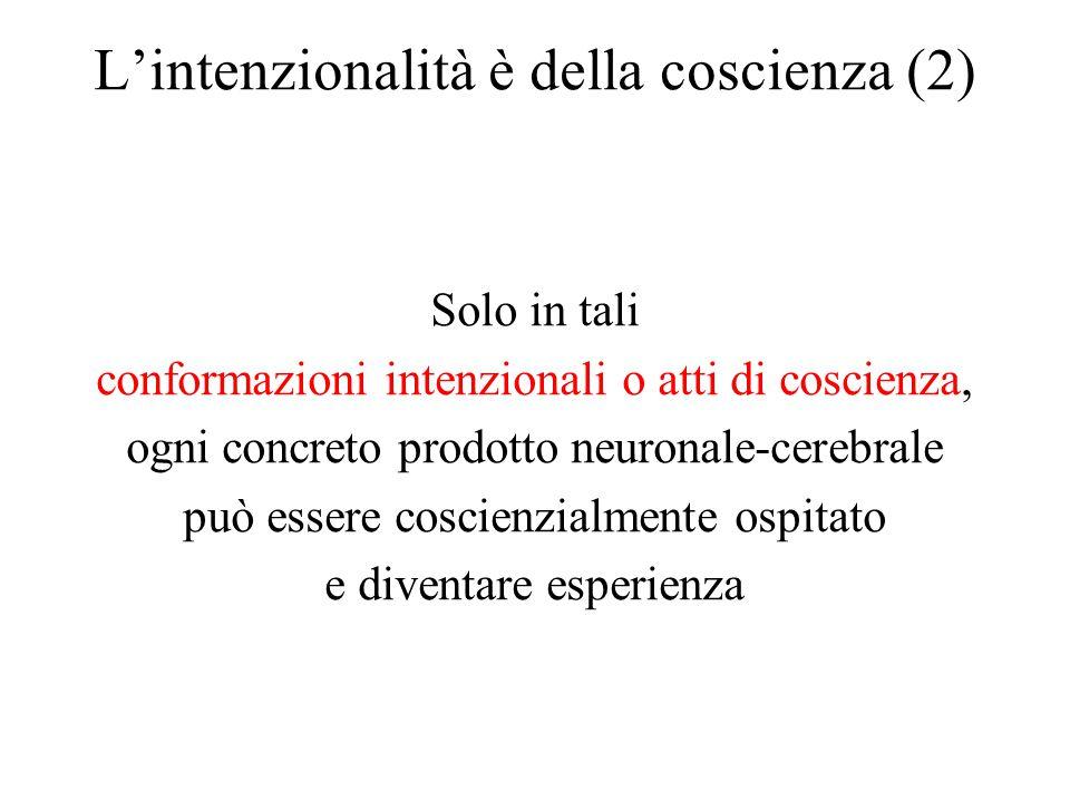 L'intenzionalità è della coscienza (2) Solo in tali conformazioni intenzionali o atti di coscienza, ogni concreto prodotto neuronale-cerebrale può ess