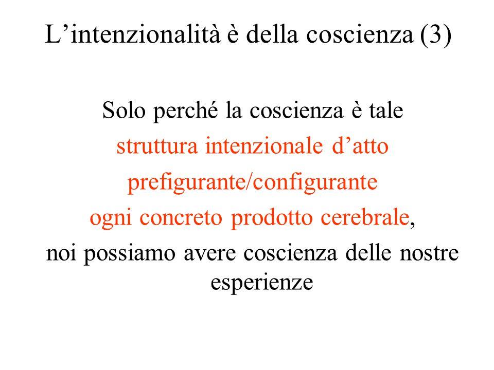 L'intenzionalità è della coscienza (3) Solo perché la coscienza è tale struttura intenzionale d'atto prefigurante/configurante ogni concreto prodotto
