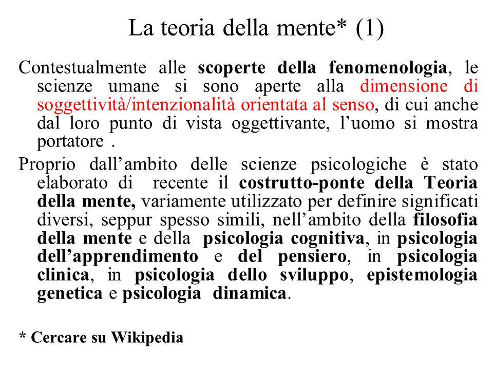 La teoria della mente* (1) Contestualmente alle scoperte della fenomenologia, le scienze umane si sono aperte alla dimensione di soggettività/intenzio