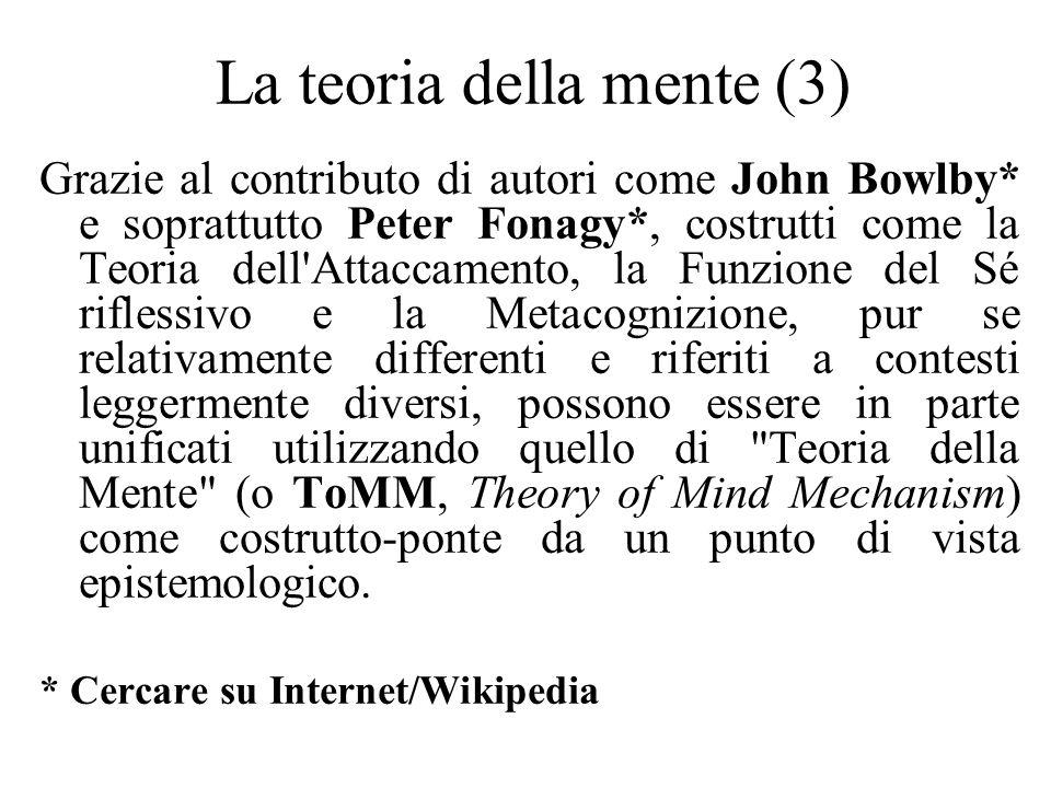 La teoria della mente (3) Grazie al contributo di autori come John Bowlby* e soprattutto Peter Fonagy*, costrutti come la Teoria dell'Attaccamento, la
