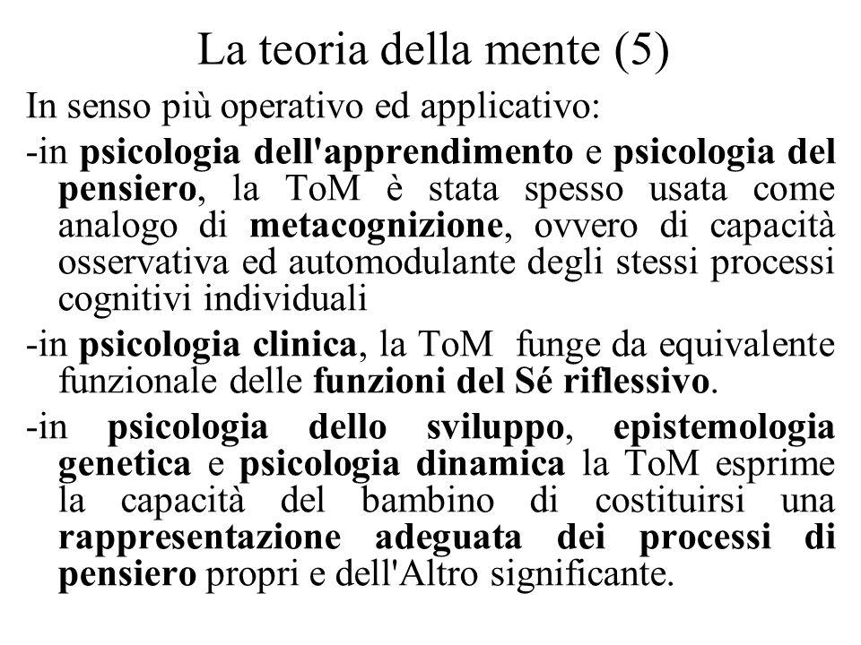 La teoria della mente (5) In senso più operativo ed applicativo: -in psicologia dell'apprendimento e psicologia del pensiero, la ToM è stata spesso us