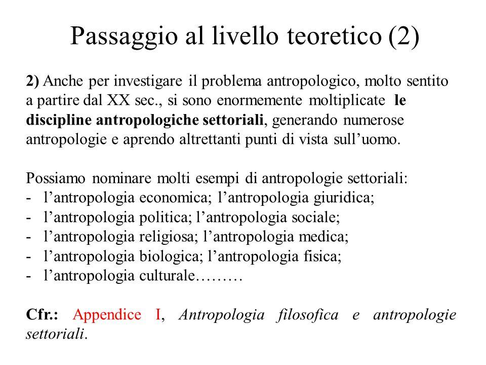 Passaggio al livello teoretico (2) 2) Anche per investigare il problema antropologico, molto sentito a partire dal XX sec., si sono enormemente moltip