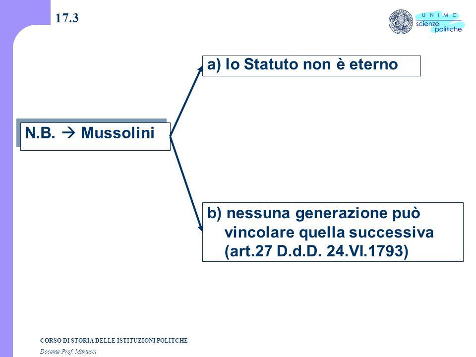 CORSO DI STORIA DELLE ISTITUZIONI POLITCHE Docente Prof. Martucci 17.3 N.B.  Mussolini a) lo Statuto non è eterno b) nessuna generazione può vincolar