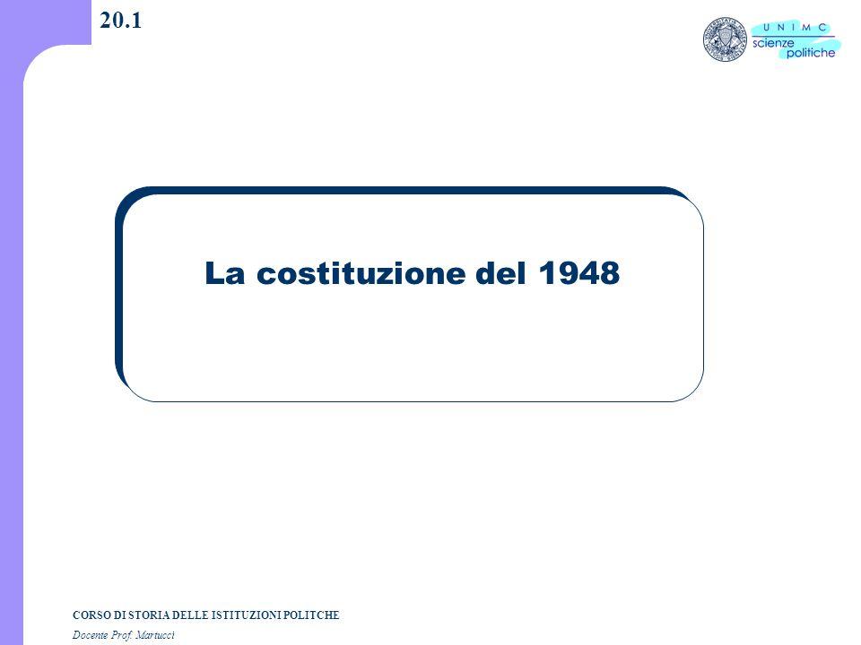 CORSO DI STORIA DELLE ISTITUZIONI POLITCHE Docente Prof. Martucci 20.1 La costituzione del 1948