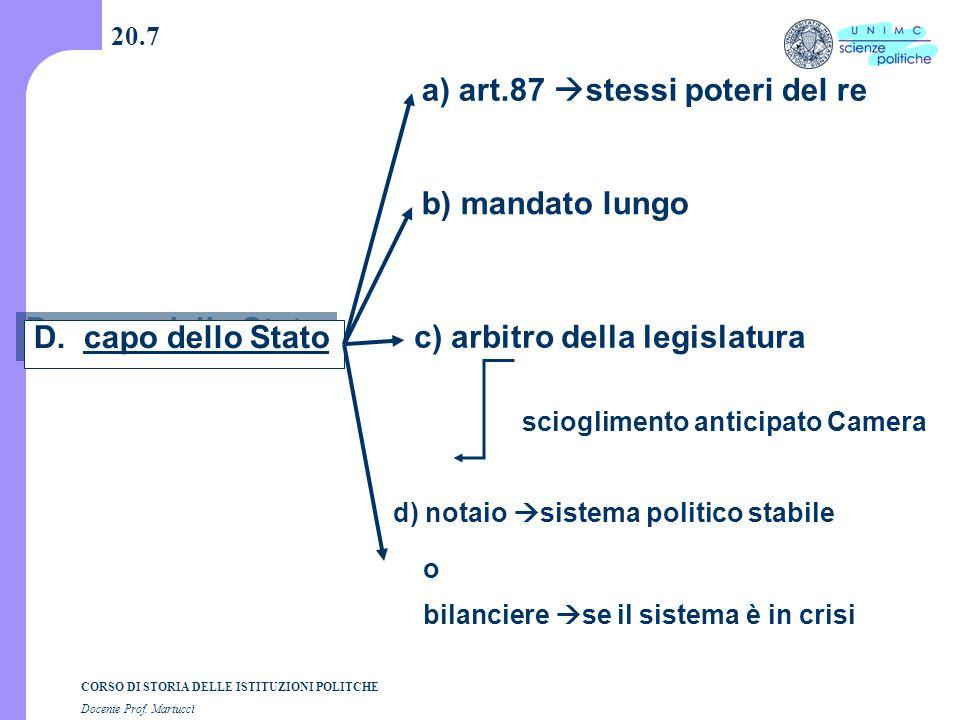 CORSO DI STORIA DELLE ISTITUZIONI POLITCHE Docente Prof. Martucci 20.7 D. capo dello Stato a) art.87  stessi poteri del re b) mandato lungo c) arbitr