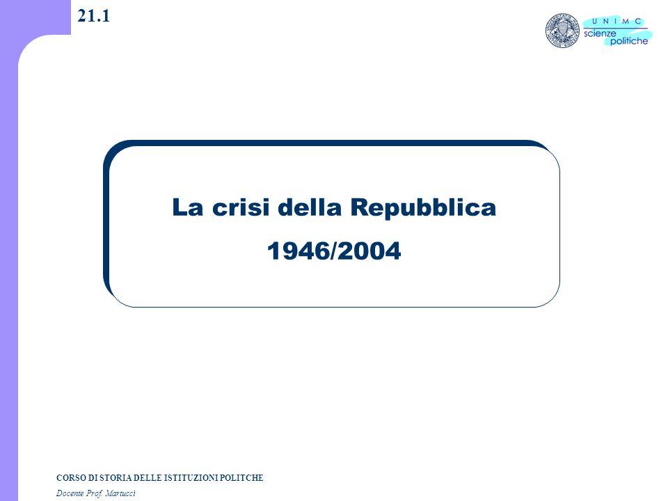CORSO DI STORIA DELLE ISTITUZIONI POLITCHE Docente Prof. Martucci 21.1 La crisi della Repubblica 1946/2004