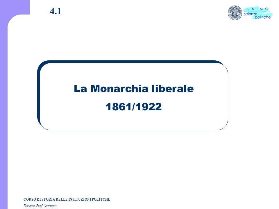 CORSO DI STORIA DELLE ISTITUZIONI POLITCHE Docente Prof. Martucci 4.1 La Monarchia liberale 1861/1922