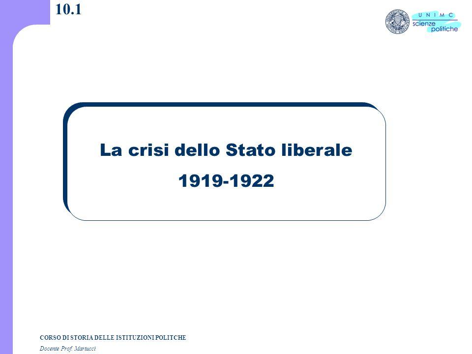 CORSO DI STORIA DELLE ISTITUZIONI POLITCHE Docente Prof. Martucci 10.1 La crisi dello Stato liberale 1919-1922