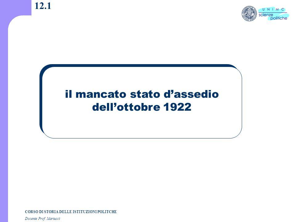 CORSO DI STORIA DELLE ISTITUZIONI POLITCHE Docente Prof. Martucci 12.1 il mancato stato d'assedio dell'ottobre 1922