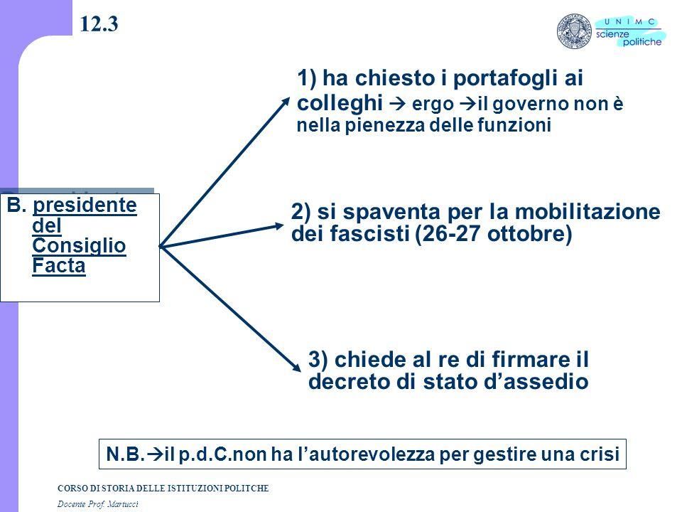 CORSO DI STORIA DELLE ISTITUZIONI POLITCHE Docente Prof. Martucci 12.3 B. presidente del Consiglio Facta 1) ha chiesto i portafogli ai colleghi  ergo
