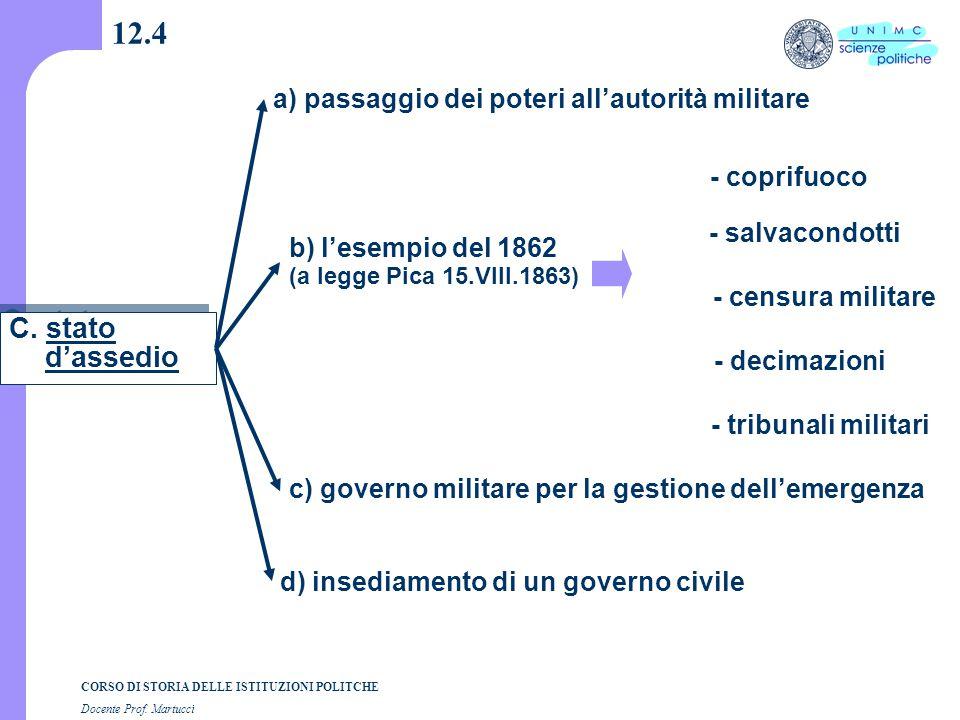 CORSO DI STORIA DELLE ISTITUZIONI POLITCHE Docente Prof. Martucci 12.4 C. stato d'assedio a) passaggio dei poteri all'autorità militare b) l'esempio d
