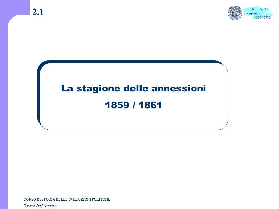 CORSO DI STORIA DELLE ISTITUZIONI POLITCHE Docente Prof. Martucci 2.1 La stagione delle annessioni 1859 / 1861
