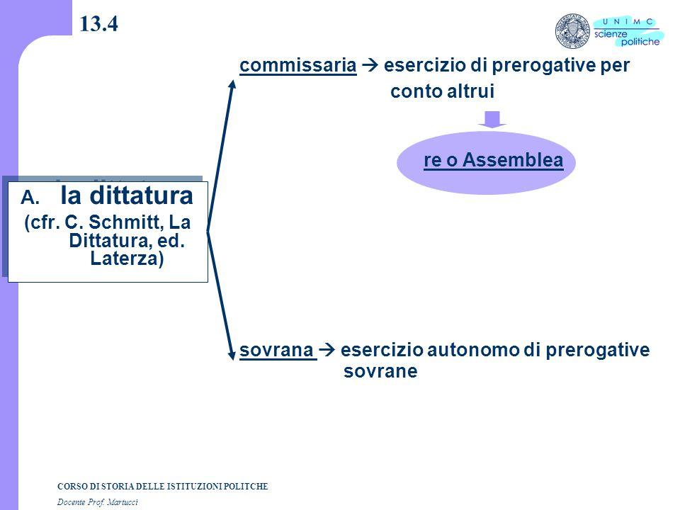 CORSO DI STORIA DELLE ISTITUZIONI POLITCHE Docente Prof. Martucci 13.4 A. la dittatura (cfr. C. Schmitt, La Dittatura, ed. Laterza) A. la dittatura (c