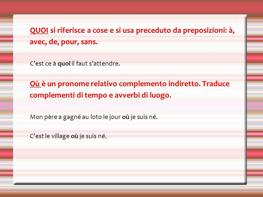 QUOI si riferisce a cose e si usa preceduto da preposizioni: à, avec, de, pour, sans.