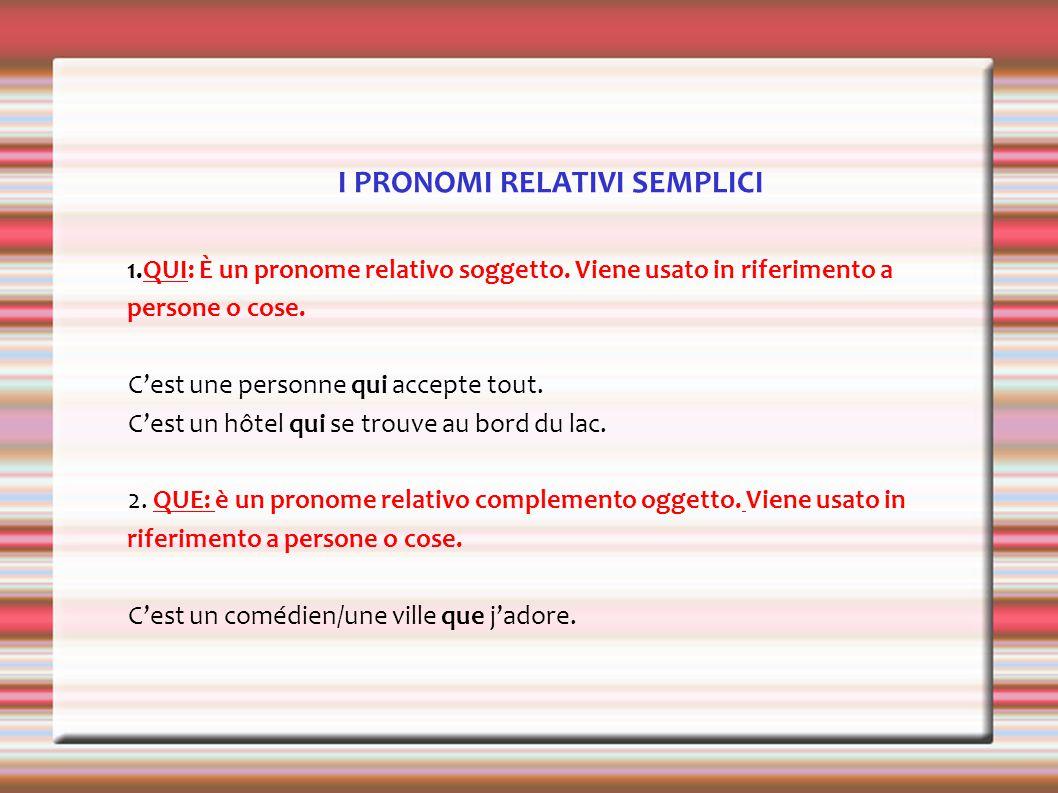 I PRONOMI RELATIVI SEMPLICI 1.QUI: È un pronome relativo soggetto.