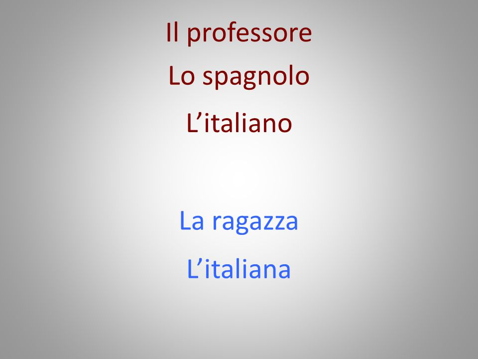 Il professore Lo spagnolo L'italiano La ragazza L'italiana