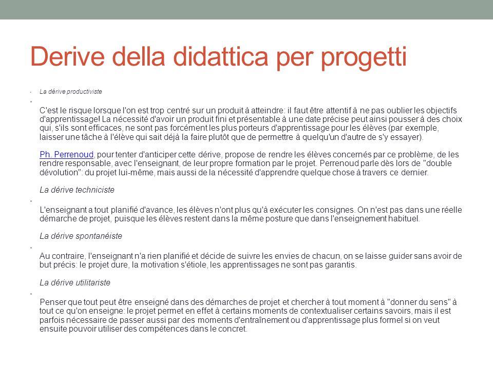 Derive della didattica per progetti La dérive productiviste C est le risque lorsque l on est trop centré sur un produit à atteindre: il faut être attentif à ne pas oublier les objectifs d apprentissage.