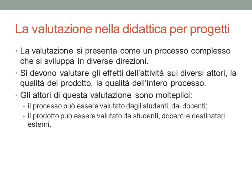 La valutazione nella didattica per progetti La valutazione si presenta come un processo complesso che si sviluppa in diverse direzioni.