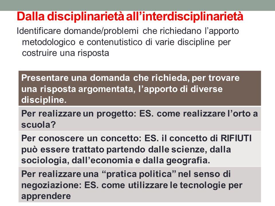 Dalla disciplinarietà all'interdisciplinarietà Identificare domande/problemi che richiedano l'apporto metodologico e contenutistico di varie disciplin