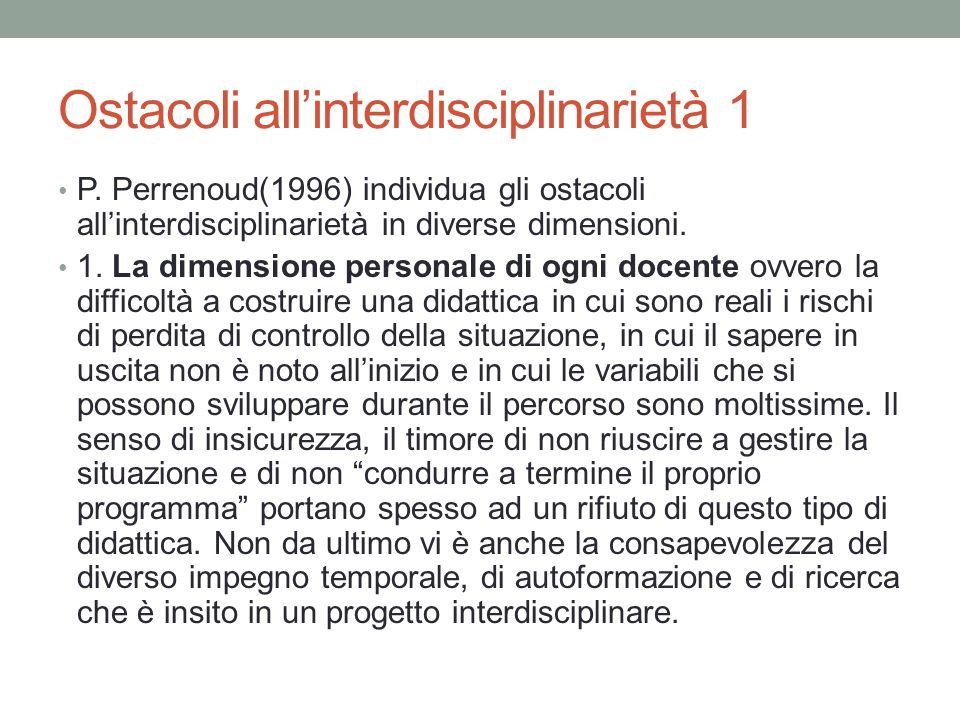 Ostacoli all'interdisciplinarietà 1 P. Perrenoud(1996) individua gli ostacoli all'interdisciplinarietà in diverse dimensioni. 1. La dimensione persona
