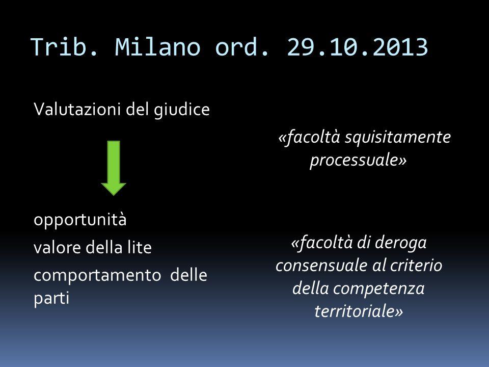 Trib. Milano ord. 29.10.2013 Valutazioni del giudice opportunità valore della lite comportamento delle parti «facoltà squisitamente processuale» «faco