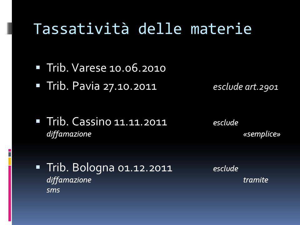 Tassatività delle materie  Trib. Varese 10.06.2010  Trib.