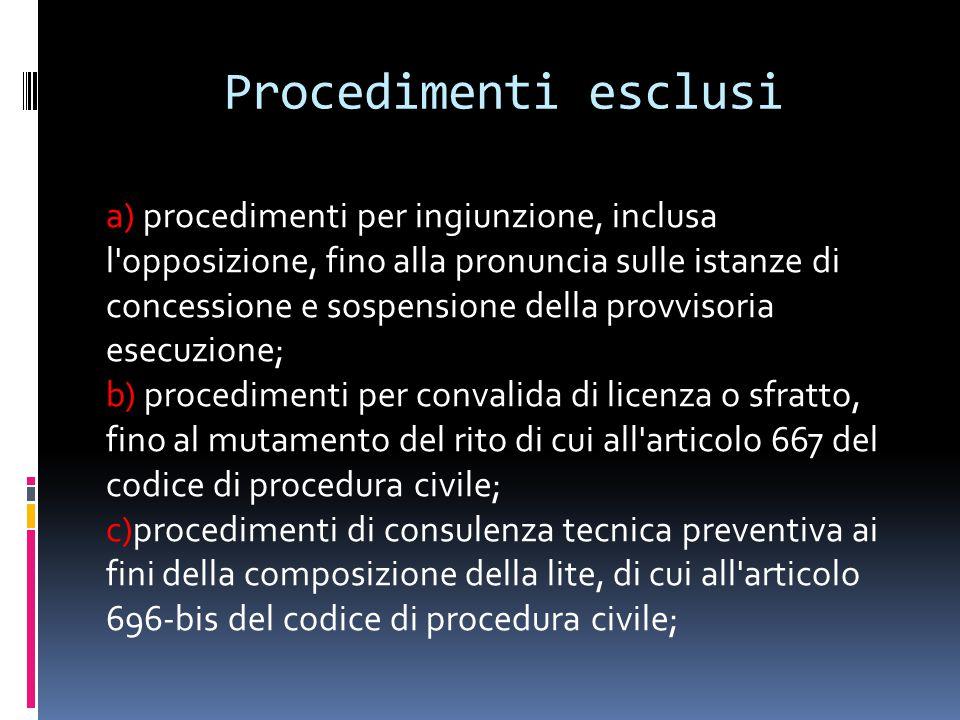 Procedimenti esclusi a) procedimenti per ingiunzione, inclusa l'opposizione, fino alla pronuncia sulle istanze di concessione e sospensione della prov
