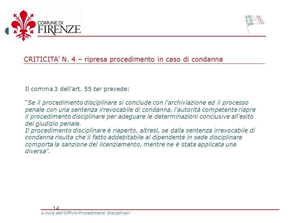 a cura dell'Ufficio Procedimenti Disciplinari 14 Il comma 3 dell'art.