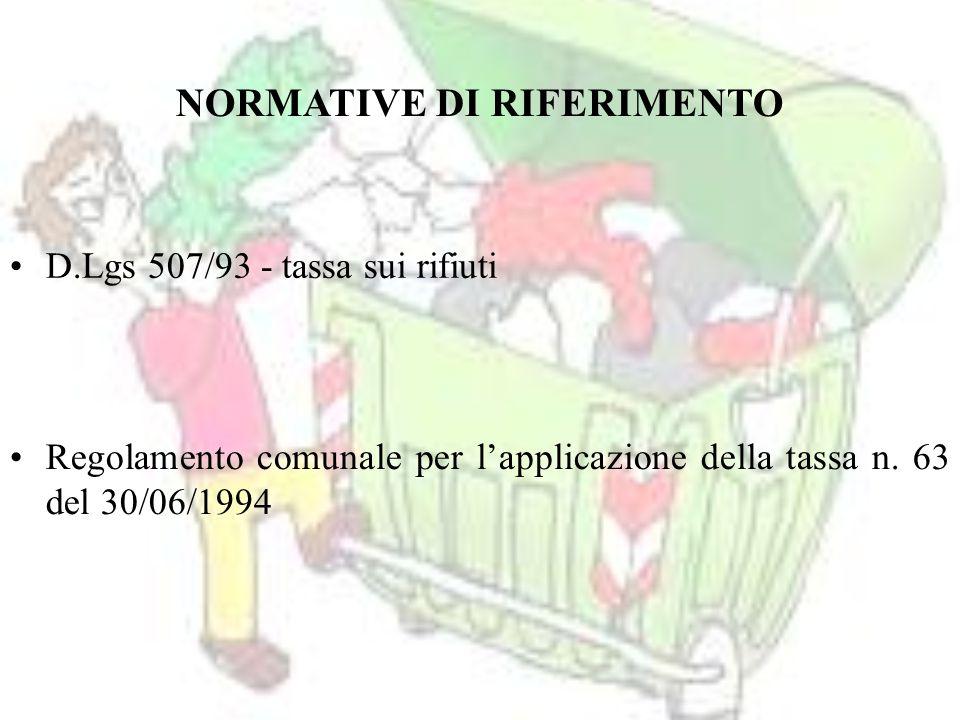 D.Lgs 507/93 - tassa sui rifiuti Regolamento comunale per l'applicazione della tassa n.