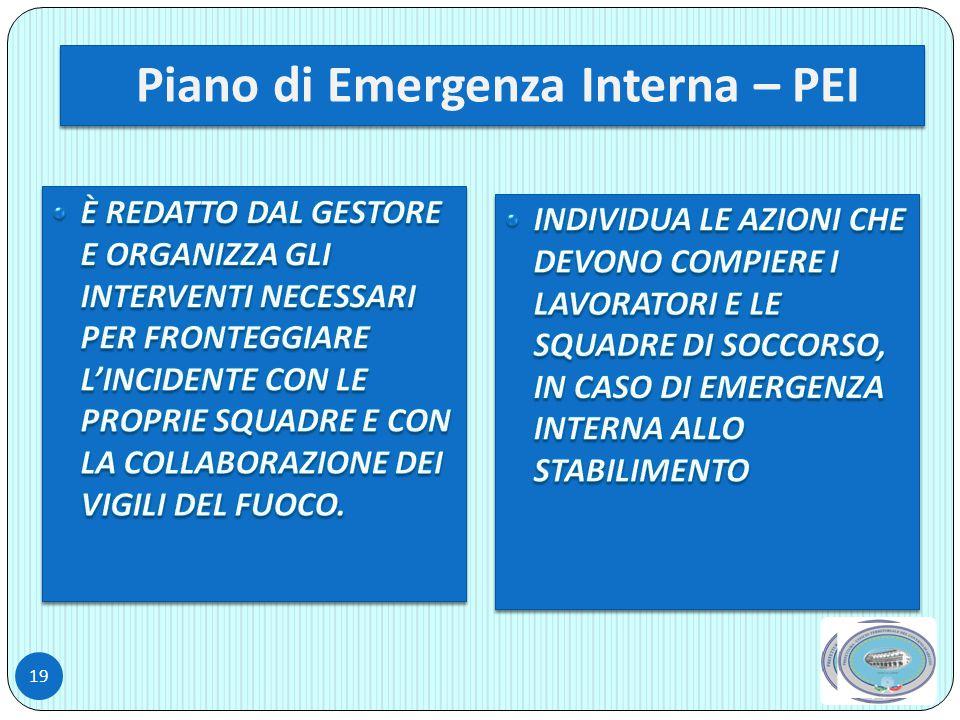 Piano di Emergenza Interna – PEI 19