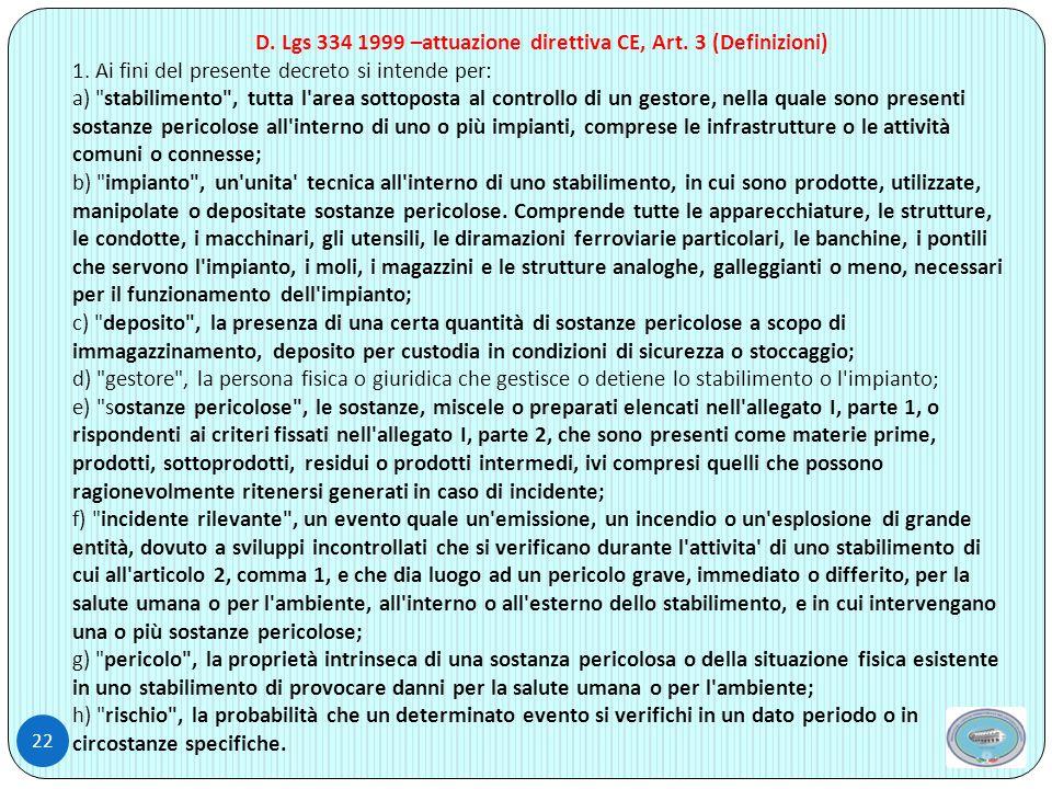 22 D.Lgs 334 1999 –attuazione direttiva CE, Art. 3 (Definizioni) 1.