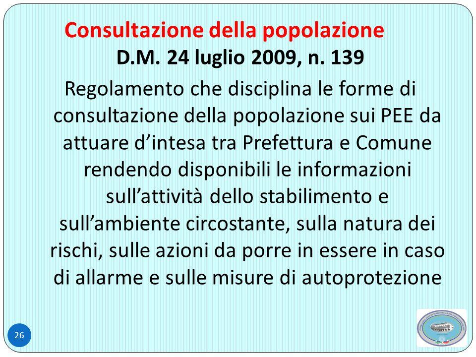 Consultazione della popolazione 26 D.M.24 luglio 2009, n.